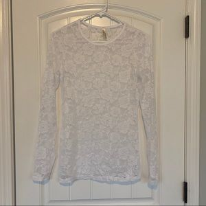 Color Story White Lace Long Sleeve Top Large